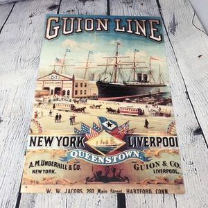Retro Vintage Inspired Tin Sign Boat Ship
